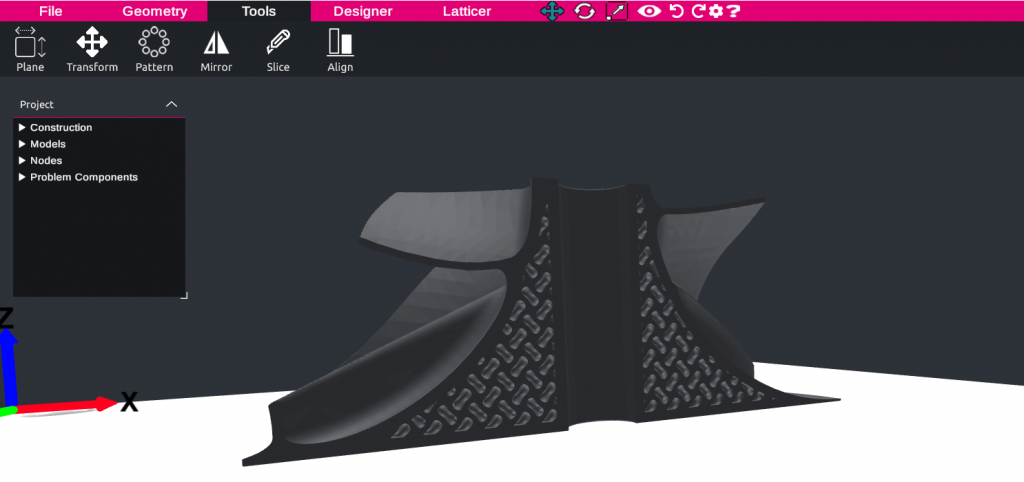 Shell lattice in design in Gen3D software