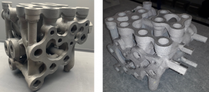 Photos of the final printed hydraulic manifold printed using EBM in Ti6Al4V alloy. Both images are shown with support removed but with no further post-processing